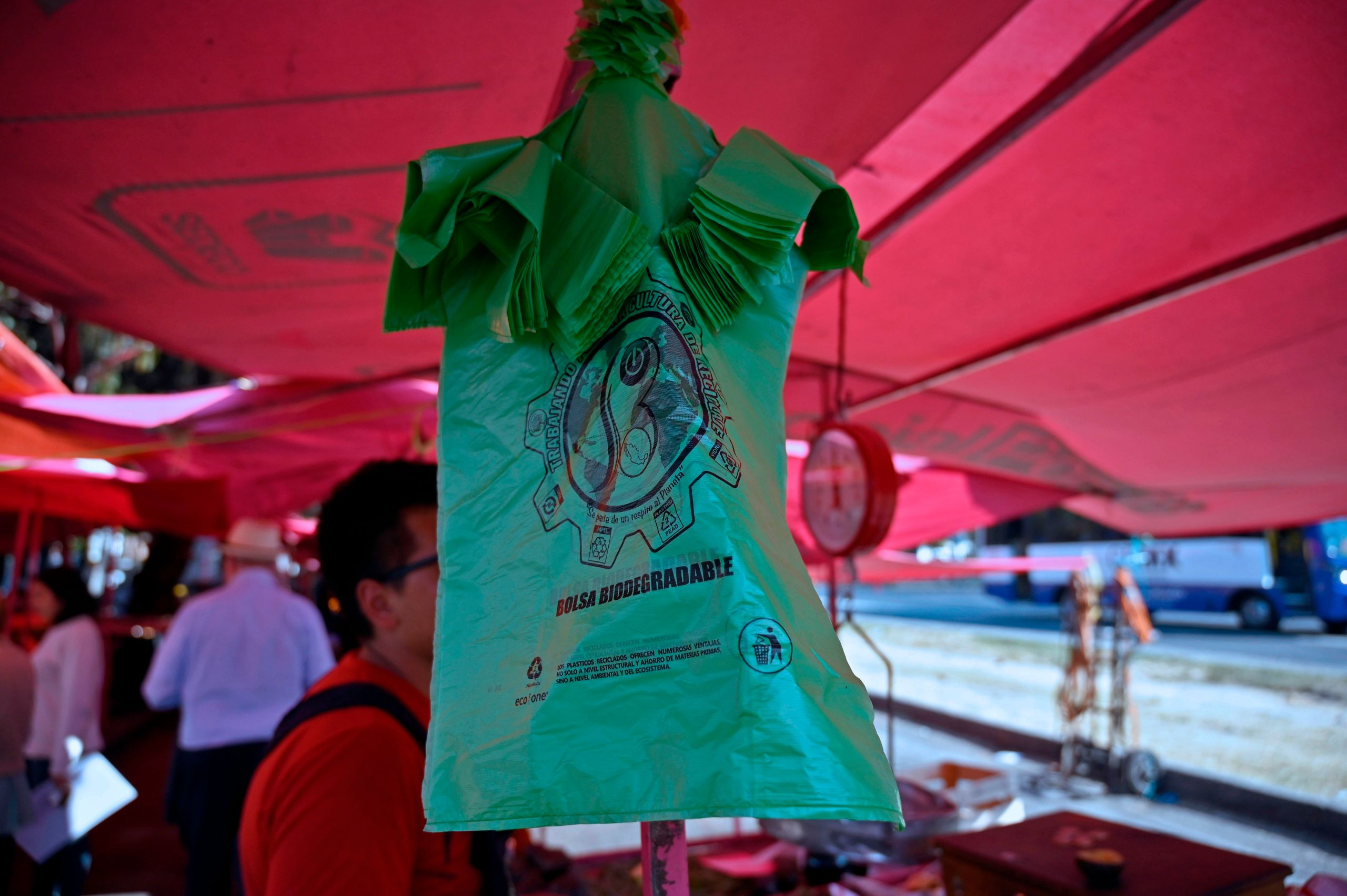 View of plastic bags on a stall at a street market in Mexico Citym, on January 15, 2020. (Alfredo Estrella/AFP via Getty Images)
